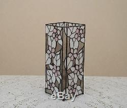 12.5 Stained Glass Handcrafted Square Desktop Flower Night Light Table Lamp