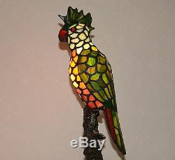 16 H Stained Glass Handcrafted Parrot Night Light Table Desk Lamp