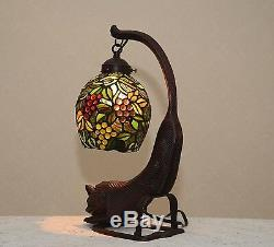 18.5H Cat/ Grape Vine Stained Glass Handcrafted Table Desk Lamp Night Light