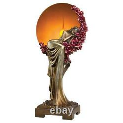 18 Art Deco Maiden Laying on a bed of Roses Lighted Sculptural Soft Lamp