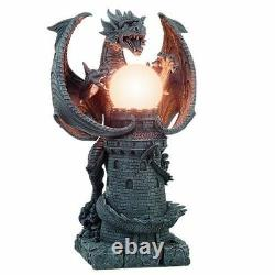 19H Medieval Castle Dragon with Illuminated Orb Wing Figurine Floor Table Lamp