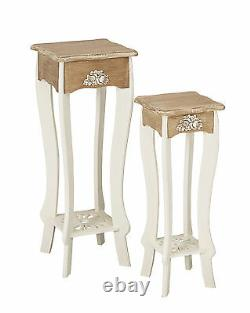 2 Louis White Painted Tall Plant Stands / Retro Lamp Table / French Shabby Chic