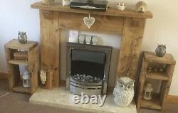 2 X Bedside/Lamp Tables Handmade Chunky Rustic Pine 110cm Each In Height
