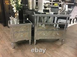 2 x Georgia Antique Silver Mirrored Chest 2 Drawer Bedside Cabinet Lamp Table