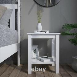 2x White Bedside Tables Pine Sofa End Side Table Cabinet Lamp NightStand Bedroom