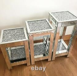3 Size Mirrored Crushed Diamond Side Lamp Table Crystal Modern Two Shelves Tier