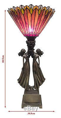 68.5cm Art Deco/nouveau Table Lamp Sisters Lady Figurines Tiffany Style Shade