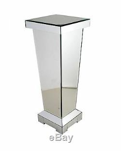 70 cm Mirrored Pedestal Side Lamp Table Plant Stand Telephone Pillar