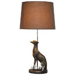 Antique Bronze Resin Greyhound Whippet Dog Table Lamp Grey Shade Light