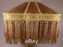 Antique Gold & Brass Deco Pleated Polyester Fringed Fabric Table Lamp Shade 779G