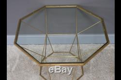 Antique Gold Octagonal Metal & Glass Side End Lamp Coffee Table (dx6811)