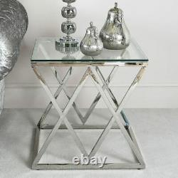 Antoinette Contemporary Silver Stainless Steel And Glass End Side Lamp Table