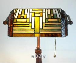 Bankers Table Lamp Antique Handmade Lampshade Tiffany Glass Light Office Desk