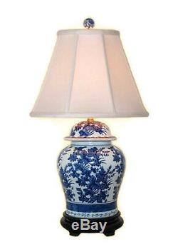 Beautiful Blue and White Porcelain Ginger Jar Table Lamp Floral Pattern 28.5