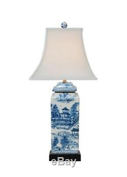 Beautiful Chinese Blue and White Blue Willow Porcelain Temple Jar Table Lamp 22