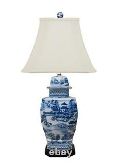 Beautiful Chinese Blue and White Blue Willow Porcelain Temple Jar Table Lamp 27