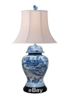 Beautiful Chinese Blue and White Blue Willow Porcelain Temple Jar Table Lamp 30
