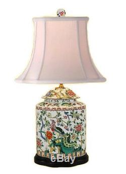 Beautiful Chinese Porcelain Scallop Ginger Jar Table Lamp Bird Floral Motif 27
