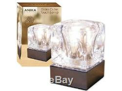Beautiful Chrome & Glass Ice Cube Bright Halogen Lamp Table Bedsides Touch Light