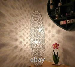 Beautiful Jewelled Floor Lamp with Moroccan theme Silver Round and Clear Beads