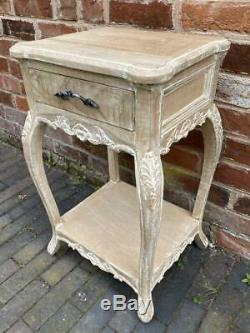 Bedside Carved Wood Side / Lamp Table Rustic Shabby Chic Style