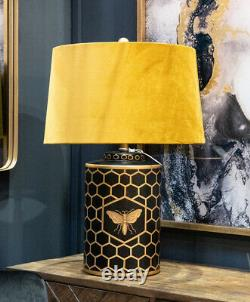 Black Gold Mustard Bee Table Desk Lamp Honeycomb Harlow Retro Vintage Art Deco