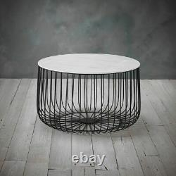 Black Metal Set of 2 Cage Tables Coffee / Side Lamp Table Modern Marble Enzo