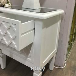 Blanca White Wooden Mirrored Top Chest of 2 Drawer Bedside Cabinet Lamp Table