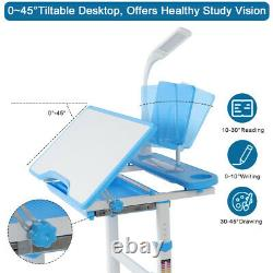 Blue Height Adjustable Children Kids Study Table Desk Chair Set with LED Lamp