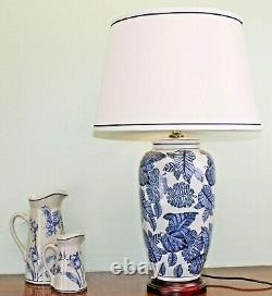 Blue & White Glazed Ceramic Table Lamp with Wooden Base 70cm and Shade
