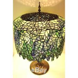 Blue Wisteria Tiffany Style Table Lamp/w Tree Trunk Base Handcrafted 18 Shade