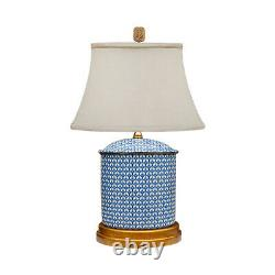 Blue and White Geometric Oval Porcelain Vase Table Lamp 19.5