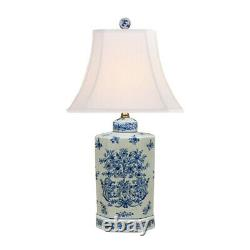 Blue and White Porcelain Tea Caddy Chinoiserie Floral Motif Table Lamp 24.5