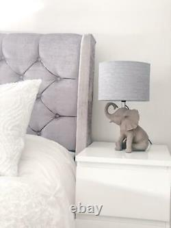 CGC Grey Resin Elephant Table Lamp with Fabric Grey Shade Bedside Coffee Light