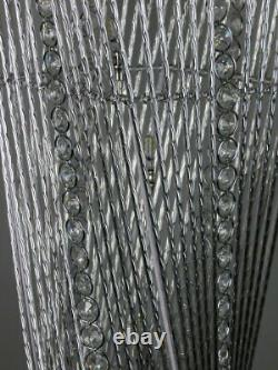 Cayan Tower Twisted Prism Silver Metal Wire Table LED Lamp Crystal Jewels Chrome