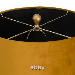 Ceramic Honeycomb bee style TABLE LAMP with mustard gold velvet shade 65cm