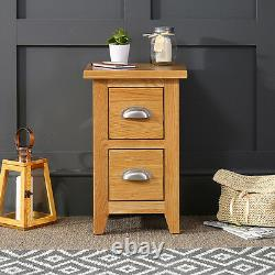 Cheshire Oak Slim 2 Drawer Bedside Small Narrow Lamp Table BRAND NEW AD02