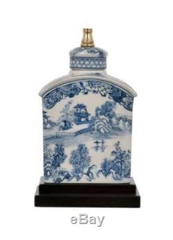 Chinese Blue and White Blue Willow Porcelain Tea Caddy Table Lamp 17.5