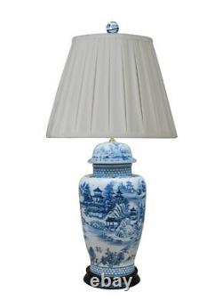 Chinese Blue and White Blue Willow Porcelain Temple Jar Table Lamp 31.5