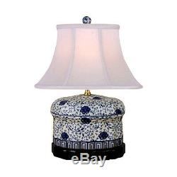 Chinese Blue and White Porcelain Oval Ginger Jar Floral Vine Table Lamp 16