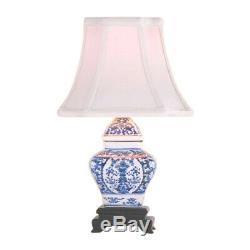 Chinese Blue and White Porcelain Temple Jar Chinoiserie Floral Table Lamp 15