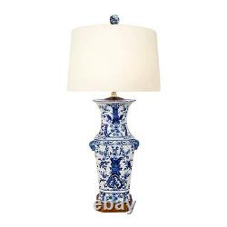 Chinese Blue and White Porcelain Vase Chinoiserie Floral Motif Table Lamp 26.5