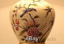 Chinese style white flower&bird ceramic art Table Lamps cloth shade E27 Bulb