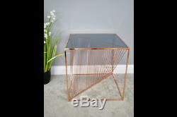 Contemporary Rose Gold Copper Metal Square Side End Lamp Coffee Table (dx6376)