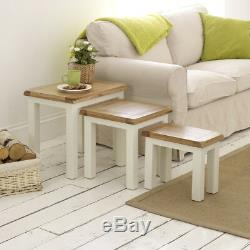Cotswold Cream Painted Nest of Three Coffee Tables 3 Side Coffee Lamp WT20