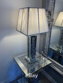 Crushed Crystal Diamond Mirror Side Table With Matching Lamp Set