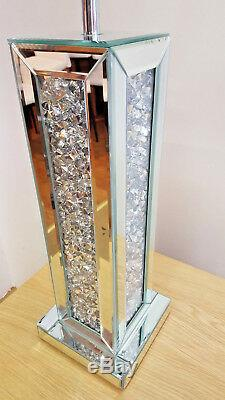 Crushed Crystal Mirror Glass Table Lamp with Silver Treaded Shade Modern Sparkle