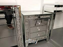 Crushed mirrored bedside table End/lamp table, living room, bedroom furniture