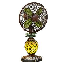 DecoBreeze Ocsillating 3 Speed Table Fan and Tiffany Style Pineapple Table Lamp