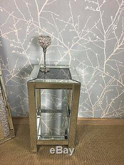 Diamond Crush Sparkly Mirrored Glass Crystal End Lamp Telephone Bedside Table